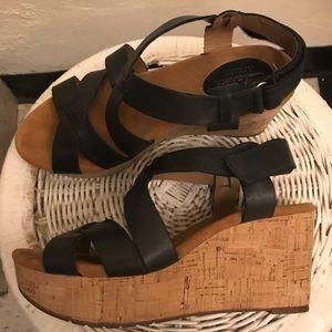 Clarks platform cork wedge sandals size 7